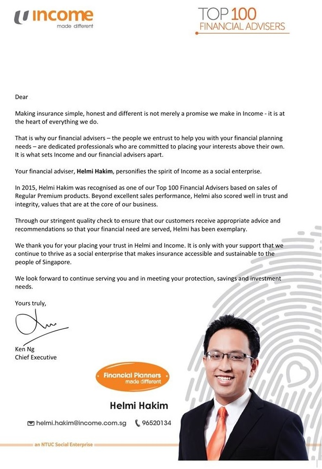Helmi Hakim, Top 100 Financial Advisers In NTUC Income…